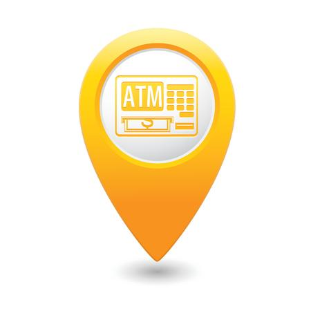 cashpoint: Map pointer with ATM cashpoint icon  Vector illustration