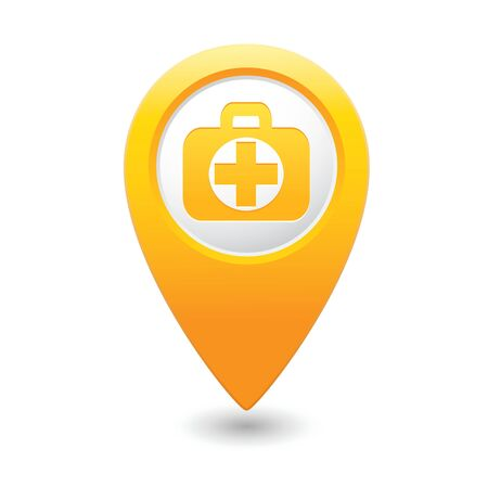 disposable: Medical icon with cross on yellow triangular map pointer  Illustration