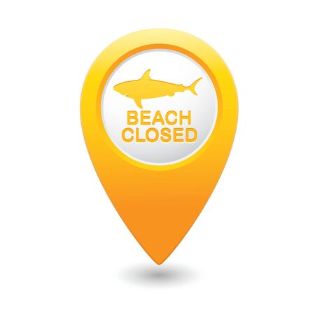 Beach Closed, shark sighting sign on map pointer, vector illustration  Vector