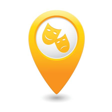 Map pointer with theater icon  Vector illustration Vector