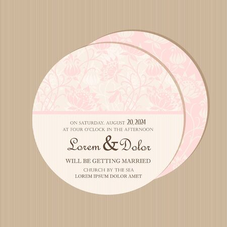 postcard back: Pink round vintage floral wedding invitation card  Vector illustration Illustration