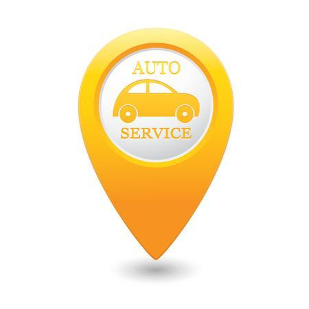 Car service  Yellow map pointer  Vector illustration Vector