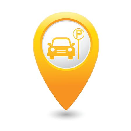wheel guard: Parking icon on yellow map pointer  Vector illustration Illustration