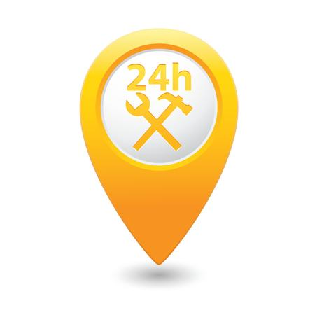 Car service icon on yellow map pointer  Vector illustration Vector