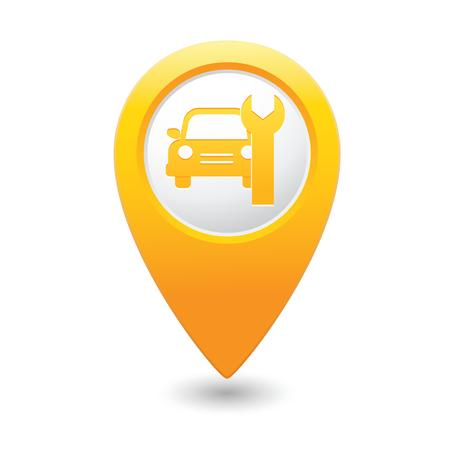 repair road: Car service  Car with tool icon on yellow map pointer  Vector illustration Illustration