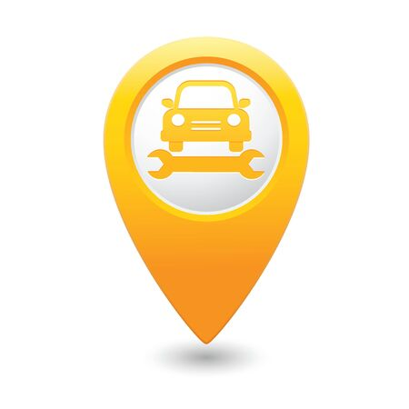 Car service  Car with tool icon on yellow map pointer  Vector illustration Vector