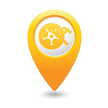 yellow car: Car service  Car wheel with tool icon on yellow map pointer  Vector illustration Illustration