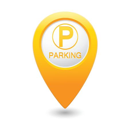 Parking icon on map pointer Ilustração