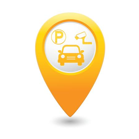 supervisi�n: Aparcamiento bajo supervisi�n icono puntero del mapa