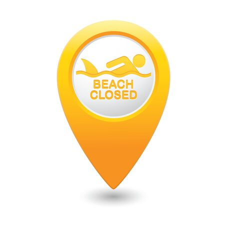 beach closed: Beach Closed, shark sighting sign on map pointer, vector illustration