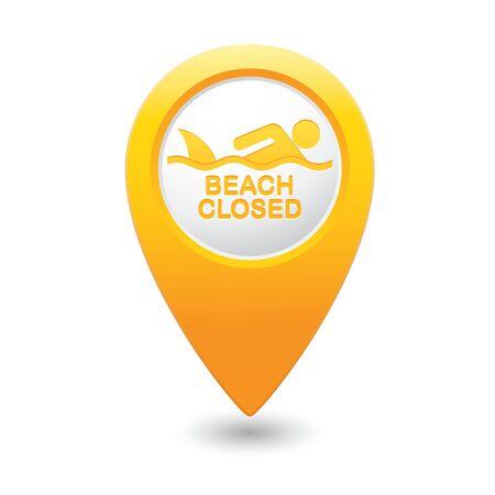 sighting: Beach Closed, shark sighting sign on map pointer, vector illustration