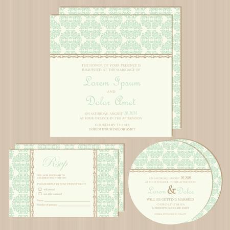 Set of vintage wedding invitation cards  Vector illustration Vector