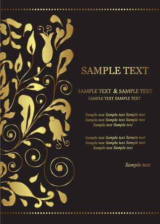 golden shower: Invitation or announcement card with golden floral element  Vector illustration