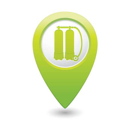 aqualung: Mappa puntatore con autorespiratore icona illustrazione vettoriale Vettoriali