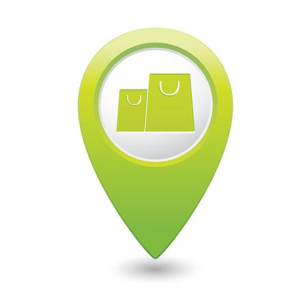 market place: Map pointer with shopping bags icon  Vector illustration