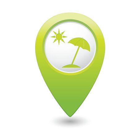 Beach icon on map pointer, vector illustration Vector