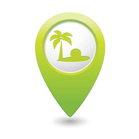 trees services: Map pointer with tropical beach icon  Vector illustration Illustration