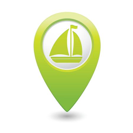 excursions: Map pointer with sailboat icon  Vector illustration Illustration