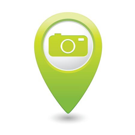 tour guide: Map pointer with camera icon  Vector illustration Illustration