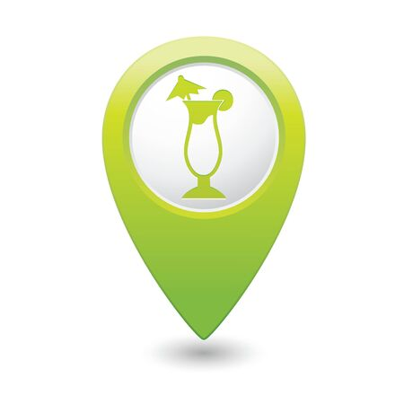 Map pointer with cocktail icon  Vector illustration Vector