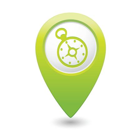 map pointer: Map pointer with compass icon  Vector illustration Illustration