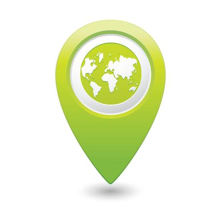 excursions: Map pointer with earth globe icon  Vector illustration