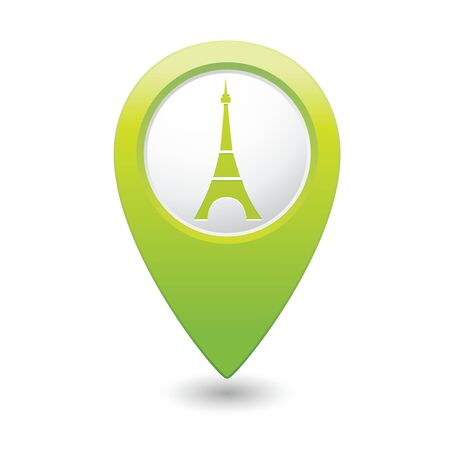 tour guide: Map pointer with Eiffel tower icon  Vector illustration
