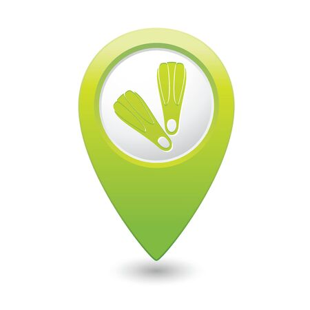 Map pointer with flippers icon  Vector illustration Stock Vector - 29231054