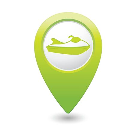 motorized sport: Green map pointer with water scooter icon  Vector illustration