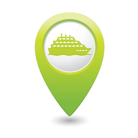 Map pointer with ship icon  Vector illustration Vector