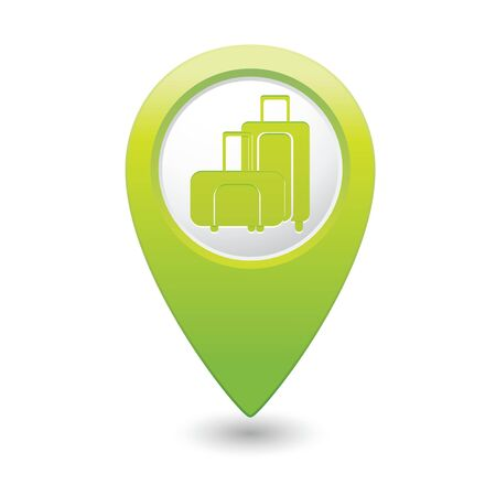 excursions: Green map pointer with suitcase icon  Vector illustration Illustration