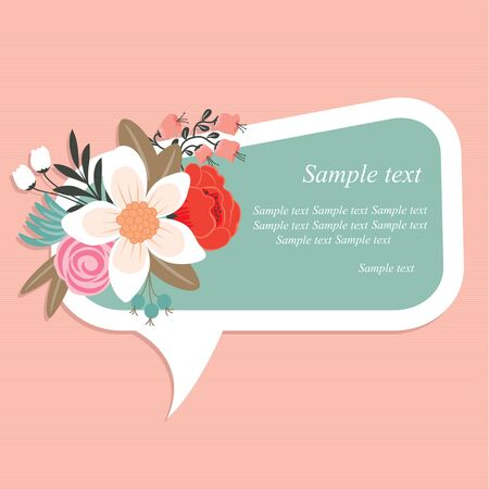 tweet: Speech bubble with beautiful floral element Illustration