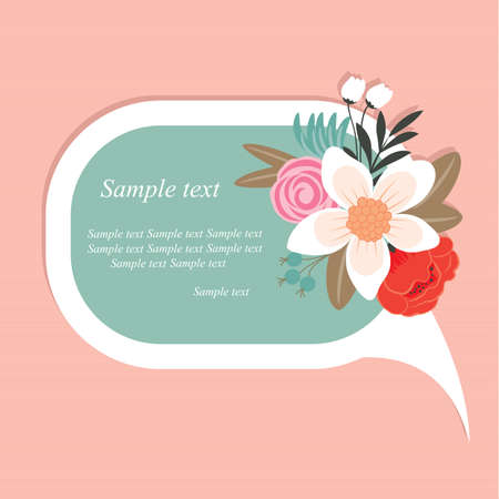 Speech bubble with beautiful floral element Illustration