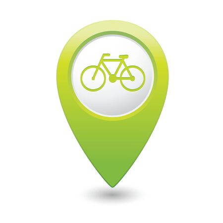 bicycle icon: Map pointer with bicycle icon  Vector illustration Illustration