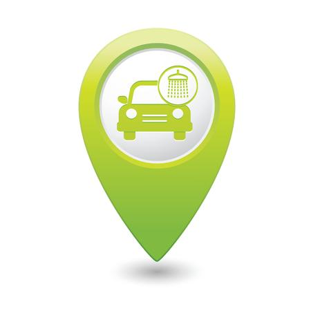 Car wash icon on green map pointer  Vector illustration Vector