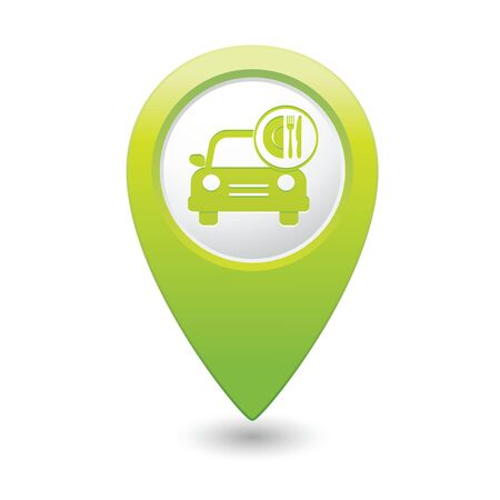 Car with meal icon on green map pointer  Vector illustration