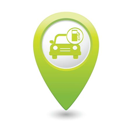 excursions: Car service  Car with gas station icon on green map pointer  Vector illustration