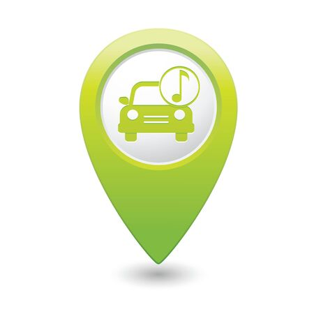 hi fi system: Car service  Car with music icon on green map pointer  Vector illustration Illustration