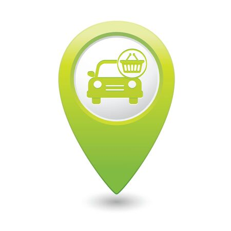 car shop: Car with shop basket icon on green map pointer  Vector illustration Illustration