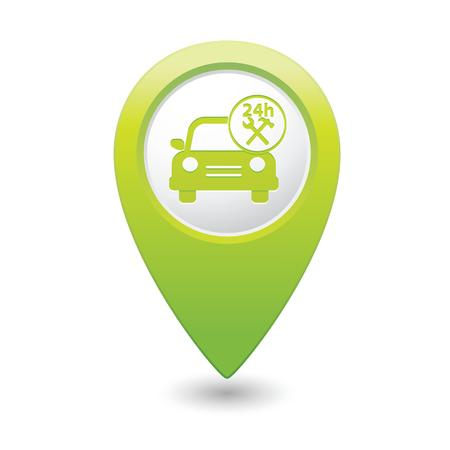 repair shop: Car service  Car with tools icon on green map pointer  Vector illustration Illustration