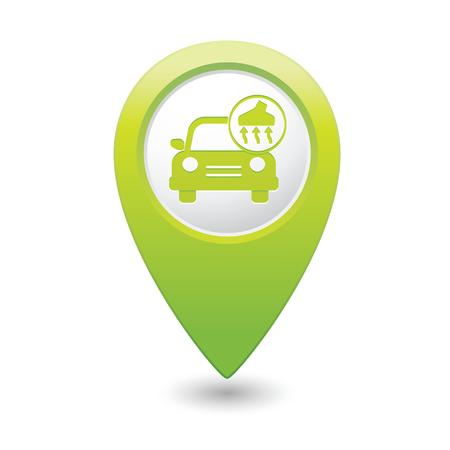 Car service  Car with vacuum cleaner icon on green map pointer  Vector illustration Vector