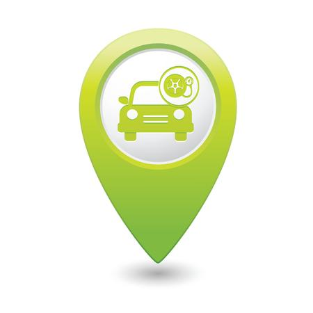 Car service  Car with wheel and pump icon on green map pointer  Vector illustration Vector