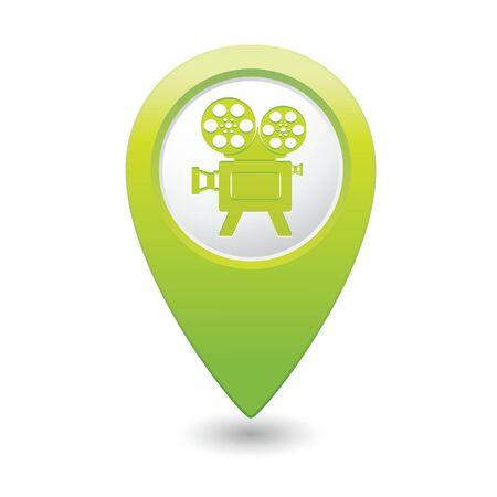 cinematografico: Los marcadores del mapa con el icono de cine ilustraci�n vectorial