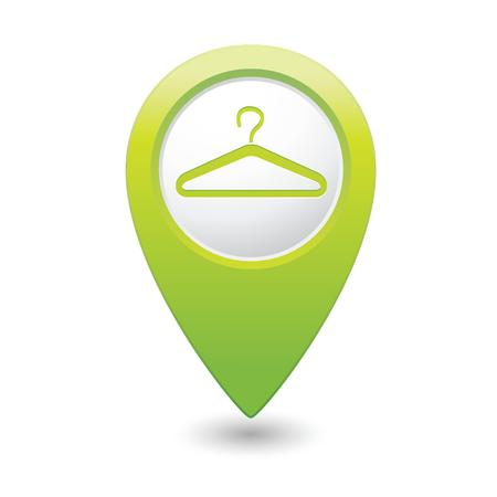 dry cleaner: Map pointer with hanger icon