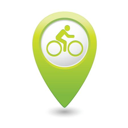 pin point: Cyclist icon on map pointer, vector illustration Illustration