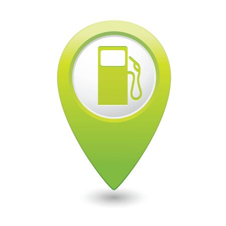 refuel: Map pointer with gas station icon  Vector illustration