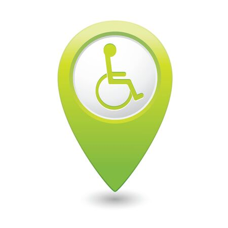 access point: Map pointer with handicap icon  Vector illustration Illustration