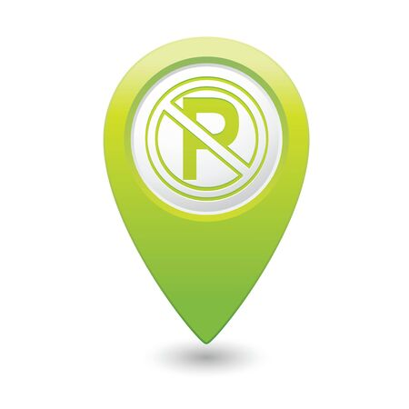 No parking sign on map pointer, vector illustration