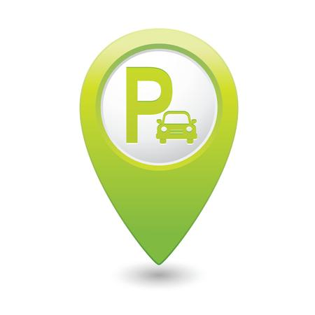 Parking sign on map pointer, vector illustration  Vector