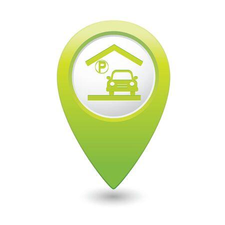 parking garage: Parking garage sign on map pointer, vector illustration
